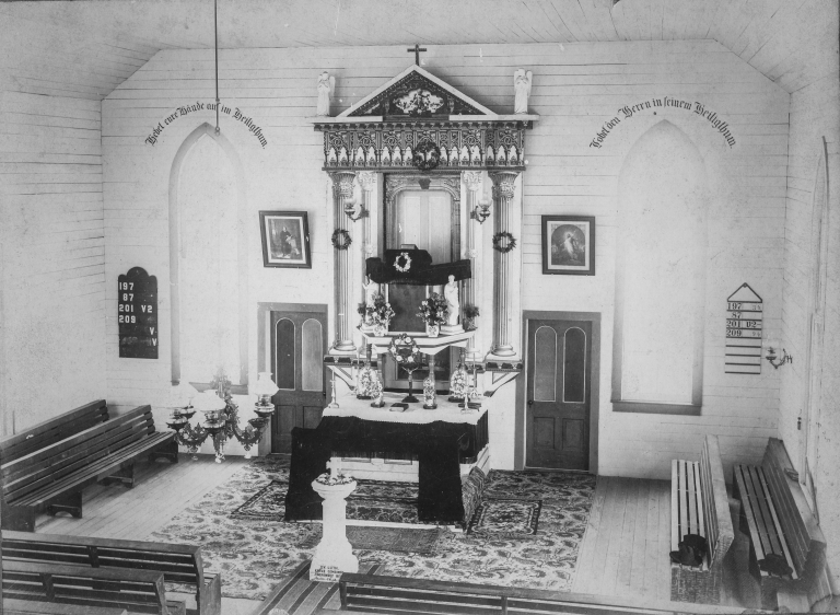 Interior of the second building of Holy Cross Lutheran Church of Warda, Texas